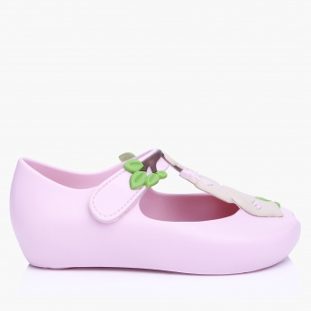 World Colors Peep Toe Shoes with Hook and Loop Closure