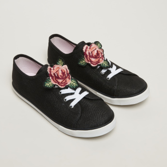Little Missy Lace-Up Sneakers with Floral Applique