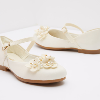 Pampili Floral Mary Jane Shoes with Pearl Detail