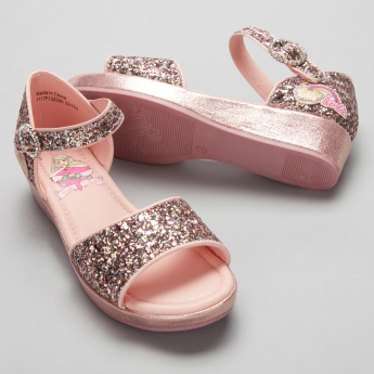 Barbie Glitter Sandals with Ankle Strap and Buckle Closure