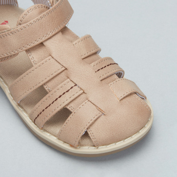 Juniors Stitch Detail Fisherman Sandals with Hook and Loop Closure