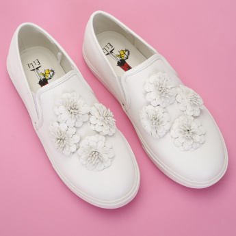 Elle Slip-On Shoes with Flower Detail