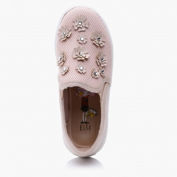 Elle Flower Applique Slip-On Sneakers