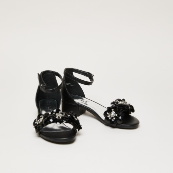 ELLE Embellished Sandals with Hook and Loop Closure