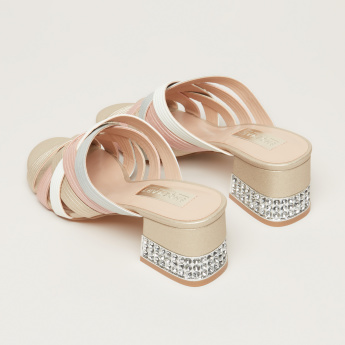 Embellished Cross Strap Slides with Block Heels