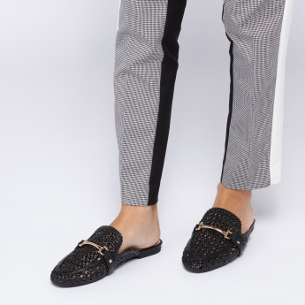 Textured Mules with Metallic Detail