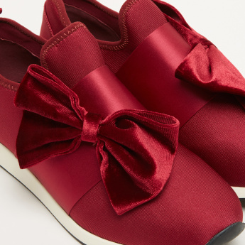 Textured Slip-On Sneakers with Bow Applique