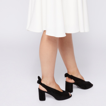 Elle Block Heel Sandals with Bow Accent