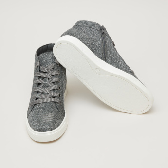 Textured High Top Lace-Up Shoes with Shimmer Detail