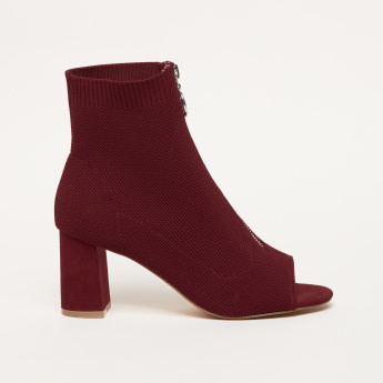 Knitted Peep Toe Boots with Block Heels