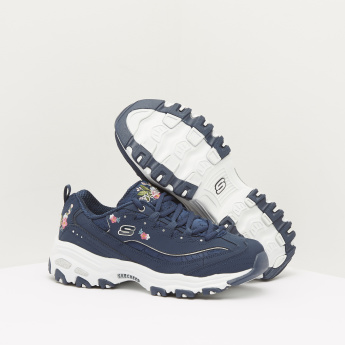 Skechers Walking Shoes with Embroidery Detail and Lace-Up Closure