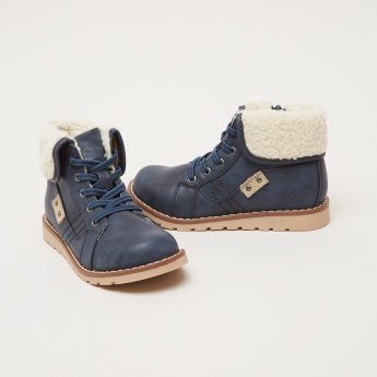 High-Top Lace-Up Shoes with Zip Closure