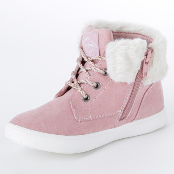 Lee Cooper Plush Detail High Top Shoes with Zip Closure