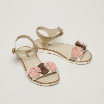 Juniors Ankle Strap Sandals with Hook and Loop Closure