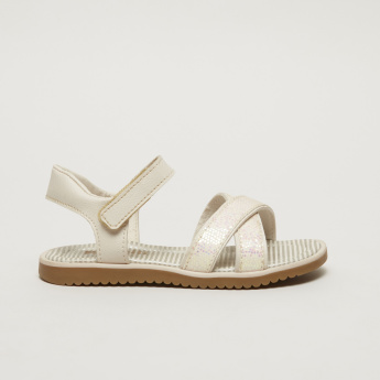 Pampili Cross Strap Sandals with Hook and Loop Closure