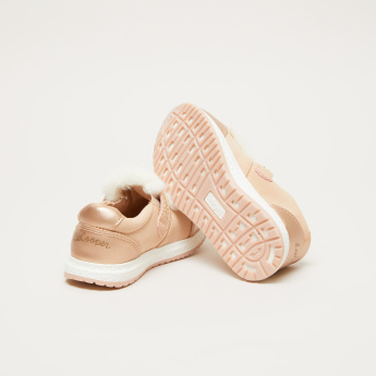 Lee Cooper Plush Detail Shoes with Hook and Loop Closure