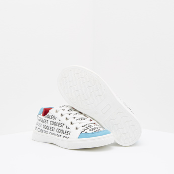 Text Printed Sneakers with Lace-Up Closure