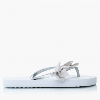 Little Missy Slip-On Thong Slippers with Bow Applique