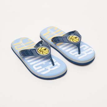 Printed Flip Flops with Applique Detail