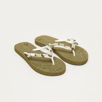 c793540eb5a6c2 Textured and Embellished Flip-Flops