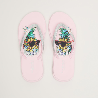 Printed Flip Flops with Glitter Detail