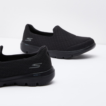 Skechers Textured Mesh Walking Shoes with Slip-On Closure