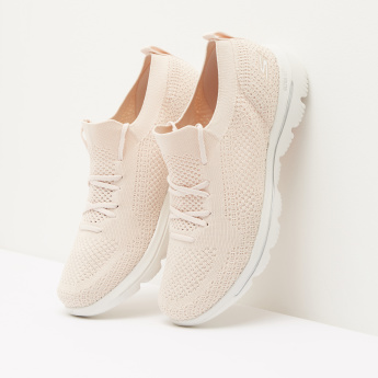 Skechers Mesh Textured Walking Shoes with Lace-Up Closure
