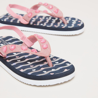 Embellished Flip Flops with Elasticised Slingback