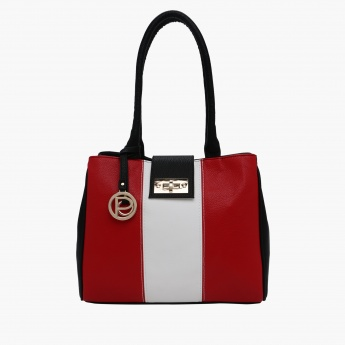 Paprika Textured Tote Bag with Twist Lock Closure