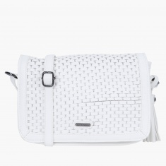 Lee Cooper Textured Crossbody Bag with Flap Closure