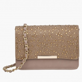 Celeste Studded Crossbody Bag with Magnetic Snap Closure