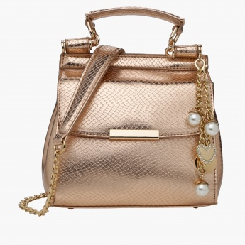 Celeste Textured Hand Bag with Magnetic Snap Closure