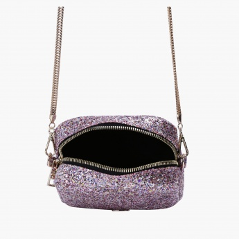 Missy Glittery Crossbody Bag with Zip Closure