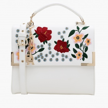 Elle Embroidered Crossbody Bag with Flap Closure