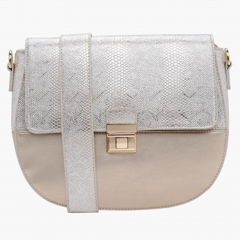 Elle Textured Crossbody Bag with Flap Closure
