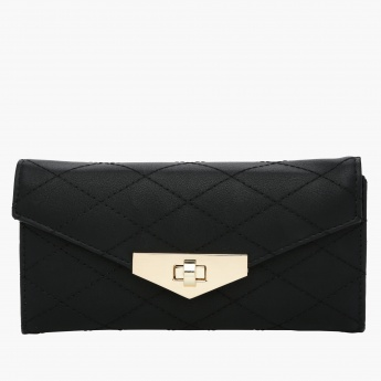 Paprika Quilted Clutch with Metallic Detail