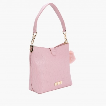 Elle Textured Handbag with Magnetic Snap Closure