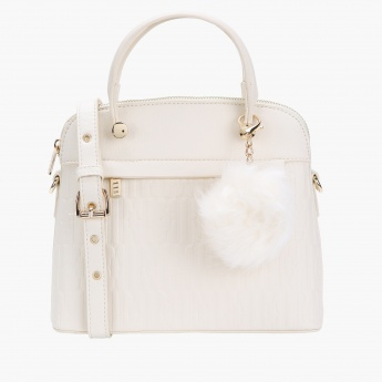 Elle Textured Handbag with Zip Closure and Pom Pom Detail