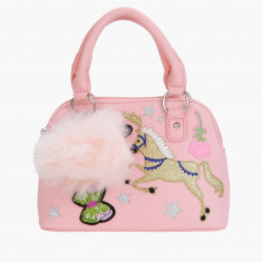 Little Missy Embellished Handbag with Zip Closure