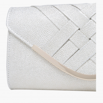 Celeste Textured Clutch with Flap and Magnetic Snap Closure