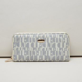 Elle Textured and Printed Wallet with Zip Closure