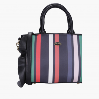Missy Striped Handbag with Zip Closure