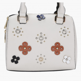 Missy Flower Applique Bowler Bag