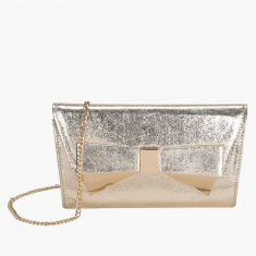 Celeste Metallic Clutch with Metallic Snap Closure