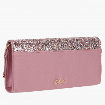 Celeste Glittery Clutch with Metallic Chain Sling