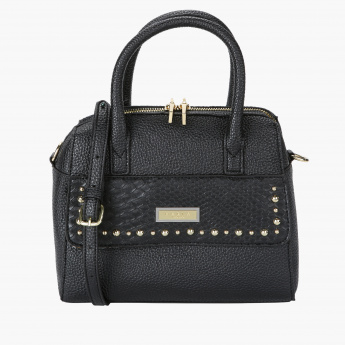 Marla London Textured Handbag with Studs and Zip Closure