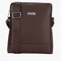 Duchini Textured Messenger Bag with Zip Closure