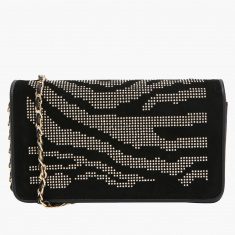 Elle Studded Wallet with Flap and Magnetic Snap Closure