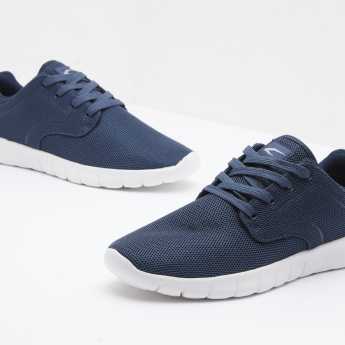 Textured Walking Shoes with Lace-Up Closure