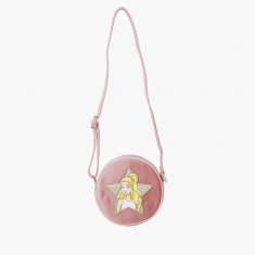 Barbie Embellished Crossbody Bag with Zip Closure